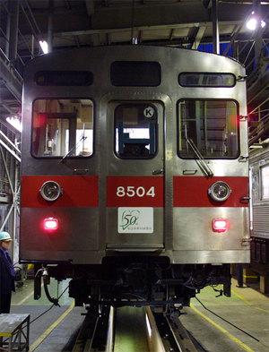 撮影準備中の撮影列車